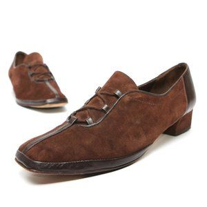 Low Heel Suede Shoes Square Toe Oxfords